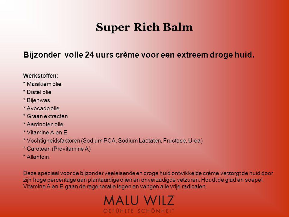 Super Rich Balm Bijzonder volle 24 uurs crème voor een extreem droge huid. Werkstoffen: * Maiskiem olie.