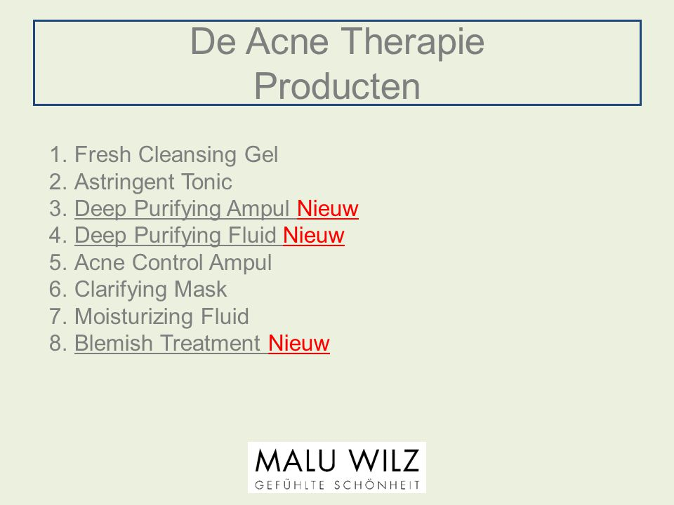 De Acne Therapie Producten