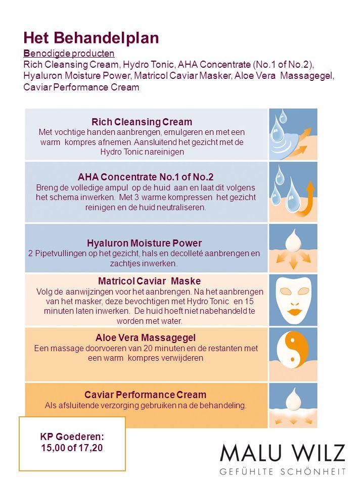 Het Behandelplan Benodigde producten Rich Cleansing Cream, Hydro Tonic, AHA Concentrate (No.1 of No.2), Hyaluron Moisture Power, Matricol Caviar Masker, Aloe Vera Massagegel, Caviar Performance Cream