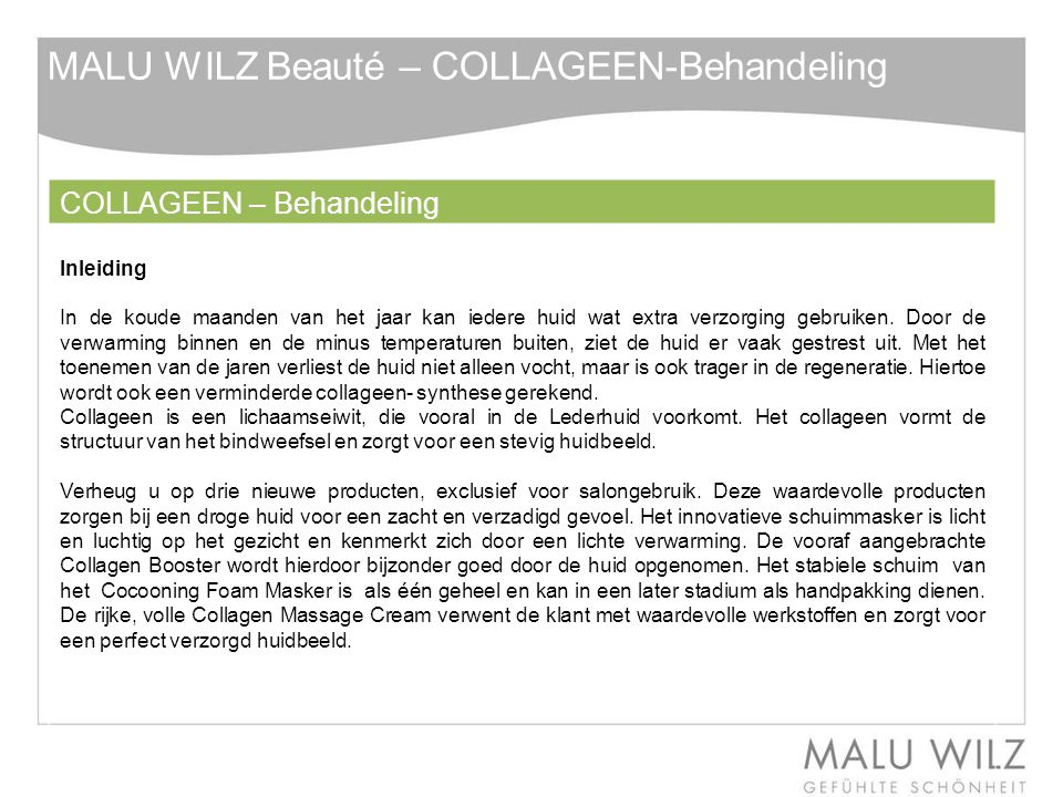 MALU WILZ Beauté – COLLAGEEN-Behandeling