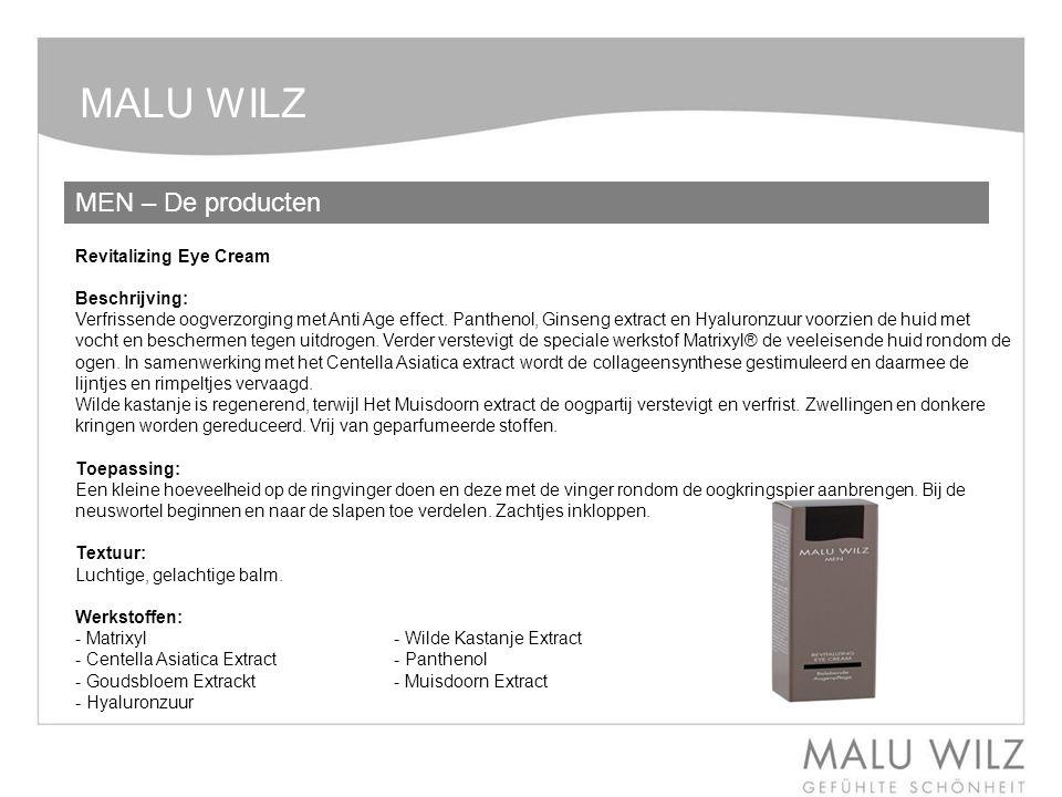 MALU WILZ MEN – De producten Revitalizing Eye Cream Beschrijving: