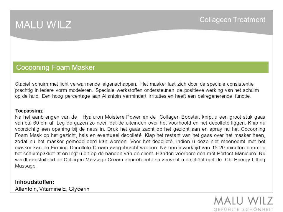 MALU WILZ Cocooning Foam Masker Inhoudstoffen: