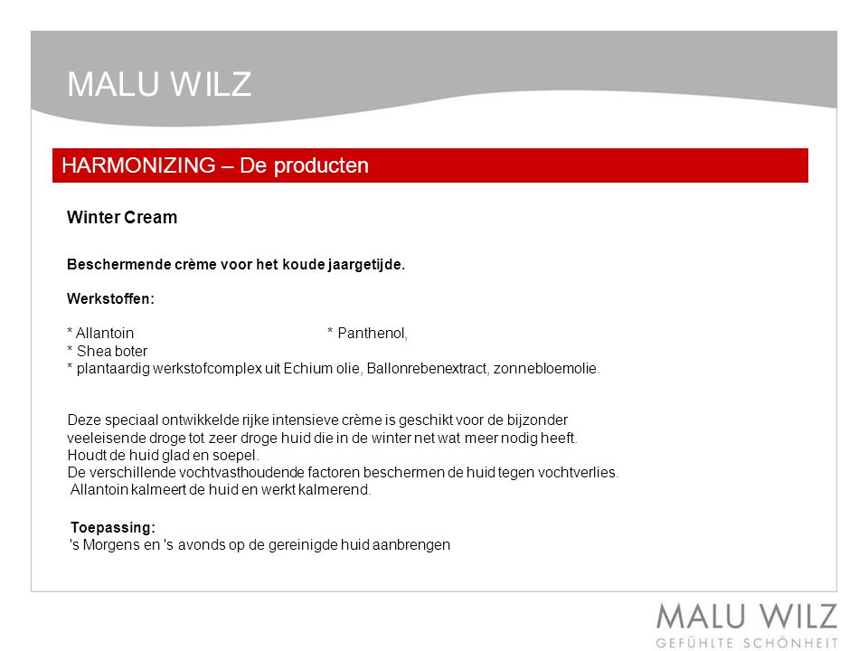MALU WILZ HARMONIZING – De producten Winter Cream