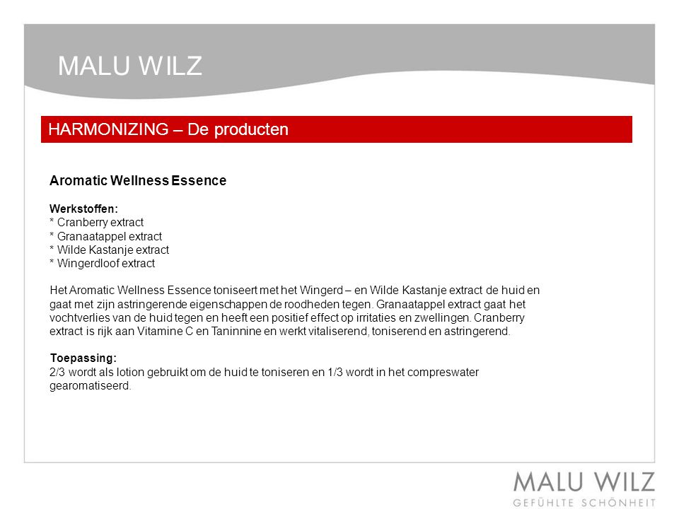 MALU WILZ HARMONIZING – De producten Aromatic Wellness Essence