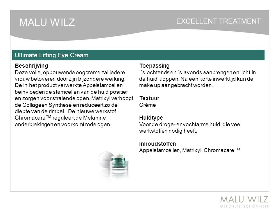 MALU WILZ Ultimate Lifting Eye Cream Beschrijving