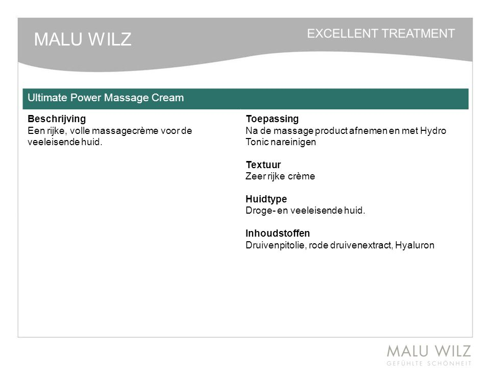 MALU WILZ Ultimate Power Massage Cream Beschrijving
