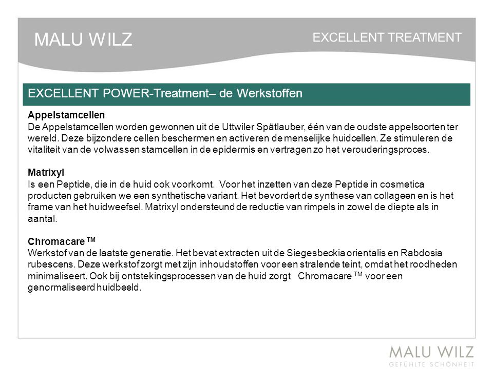 MALU WILZ EXCELLENT POWER-Treatment– de Werkstoffen