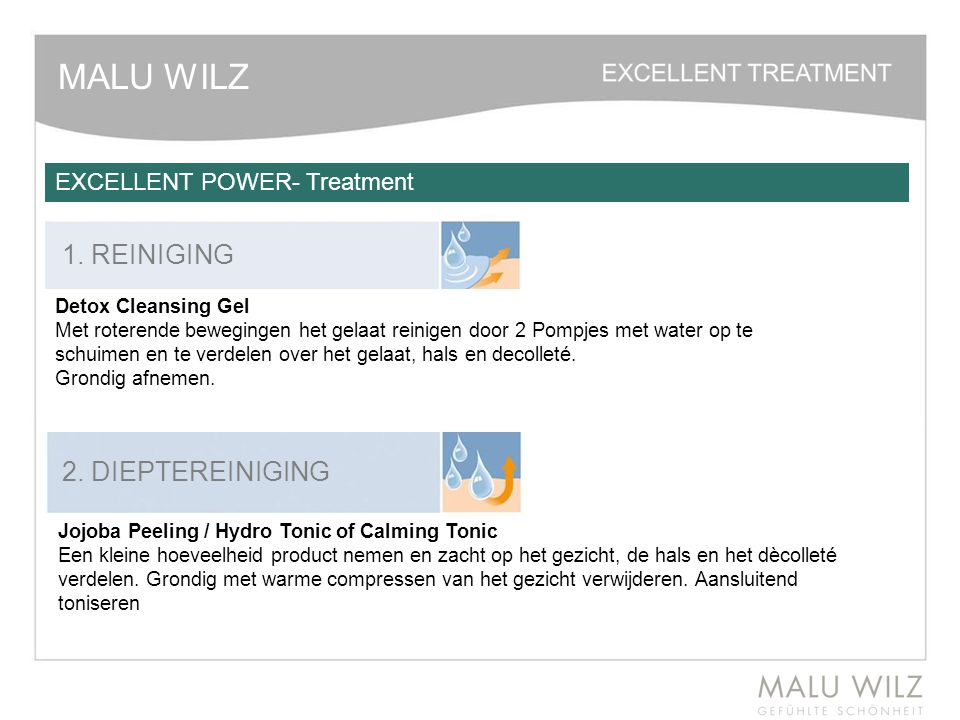 MALU WILZ 1. REINIGING 2. DIEPTEREINIGING EXCELLENT POWER- Treatment