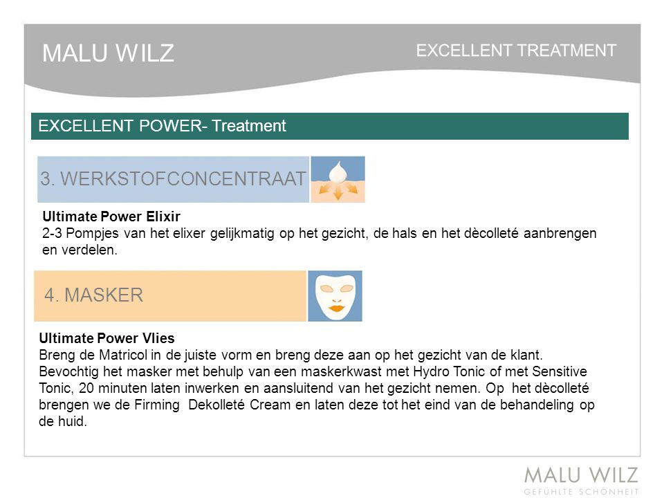 MALU WILZ 3. WERKSTOFCONCENTRAAT 4. MASKER EXCELLENT POWER- Treatment