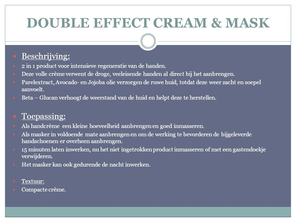 DOUBLE EFFECT CREAM & MASK