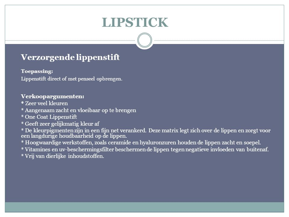 Verzorgende lippenstift
