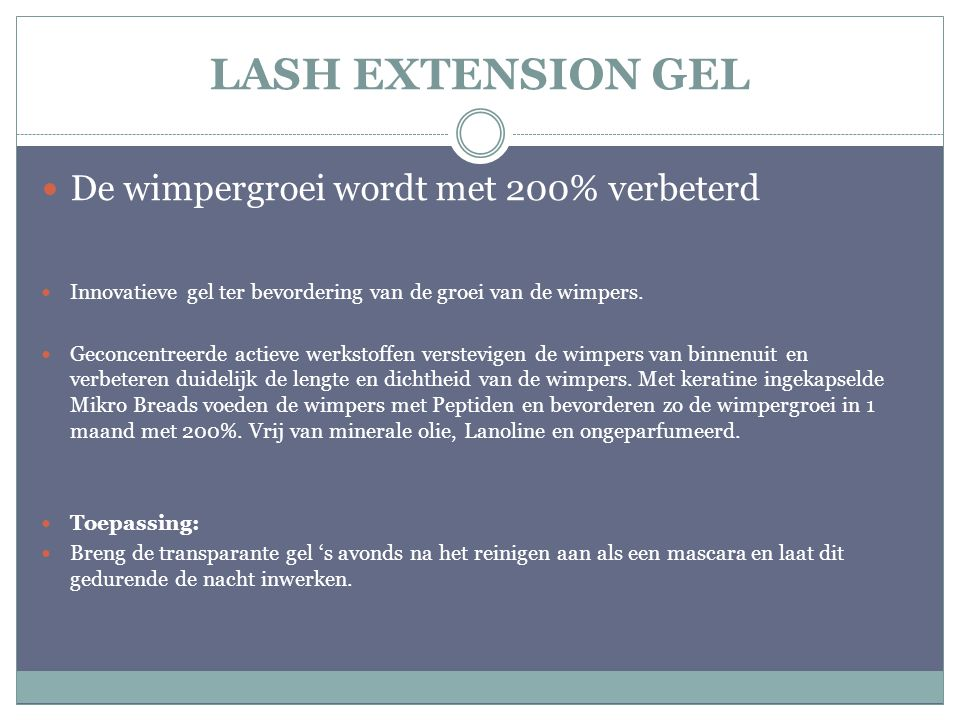 LASH EXTENSION GEL De wimpergroei wordt met 200% verbeterd