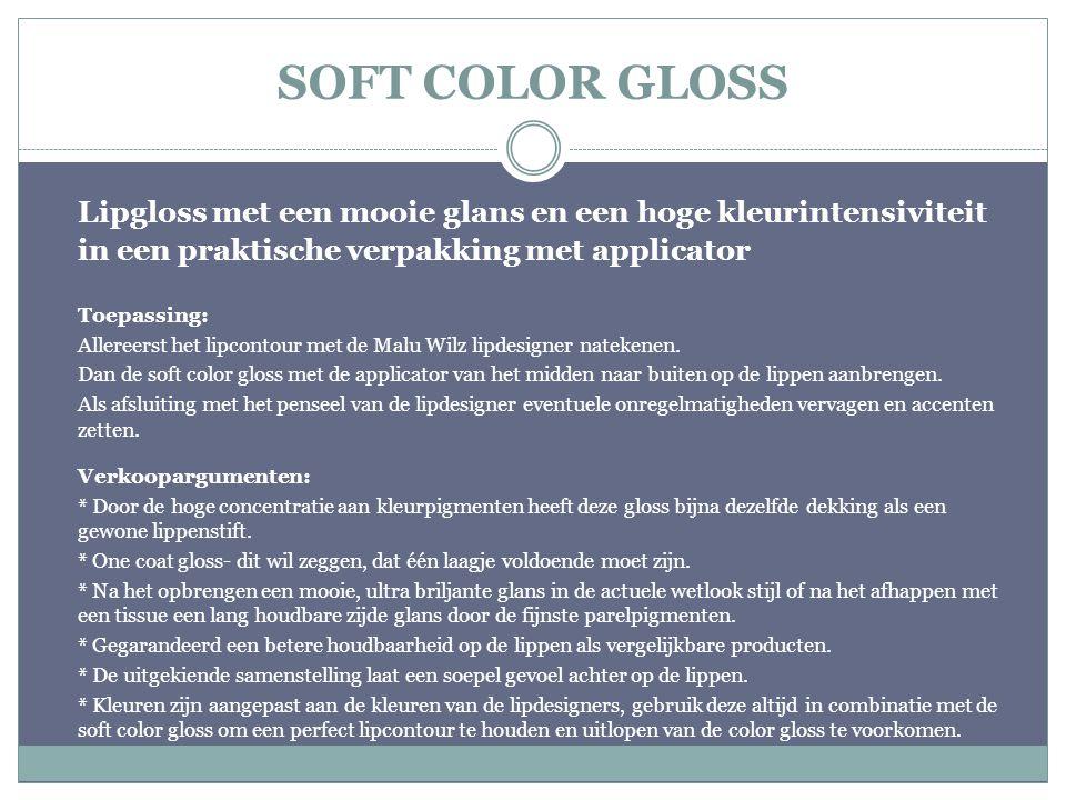 SOFT COLOR GLOSS Lipgloss met een mooie glans en een hoge kleurintensiviteit in een praktische verpakking met applicator.