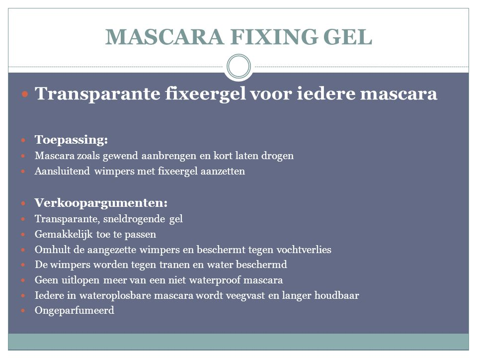 MASCARA FIXING GEL Transparante fixeergel voor iedere mascara