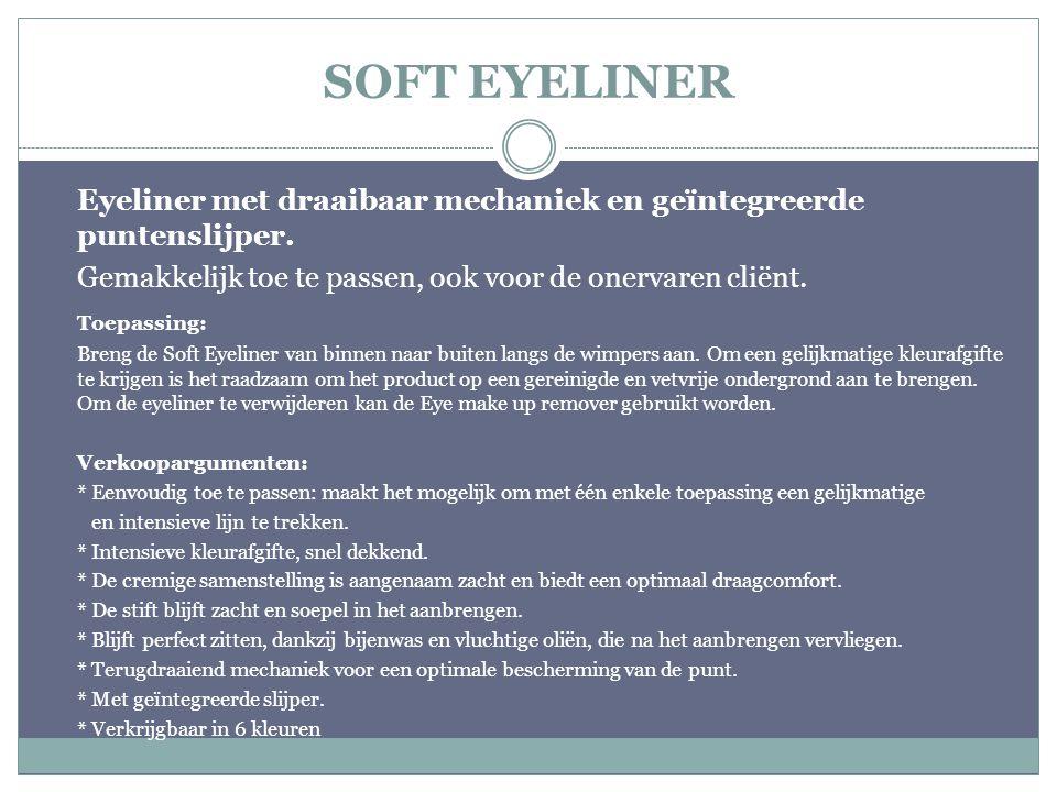 SOFT EYELINER Eyeliner met draaibaar mechaniek en geïntegreerde puntenslijper. Gemakkelijk toe te passen, ook voor de onervaren cliënt.