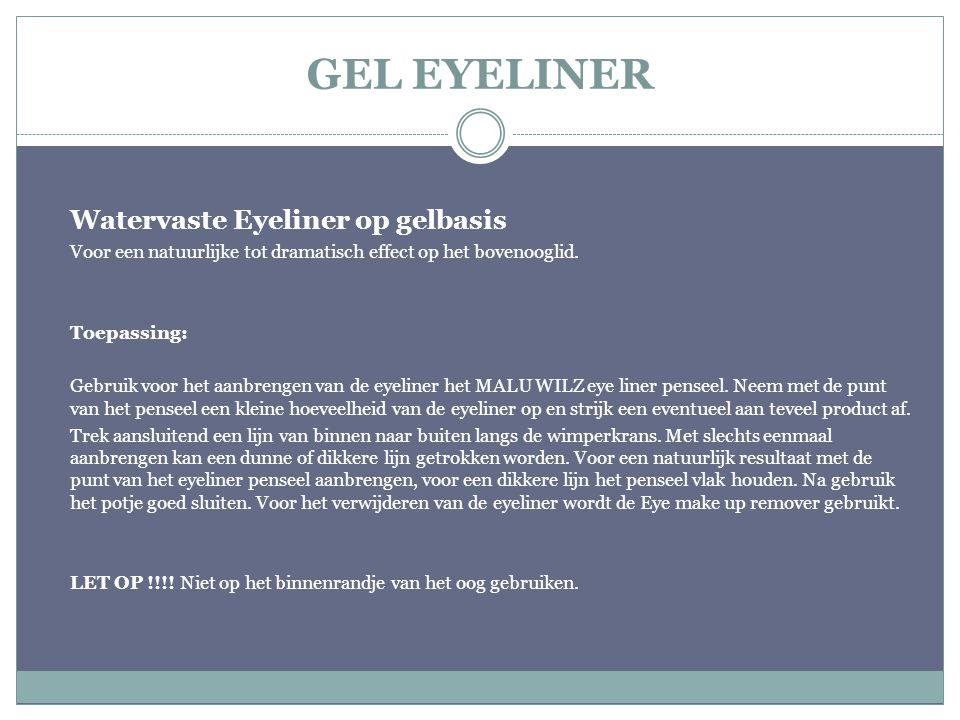 GEL EYELINER Watervaste Eyeliner op gelbasis