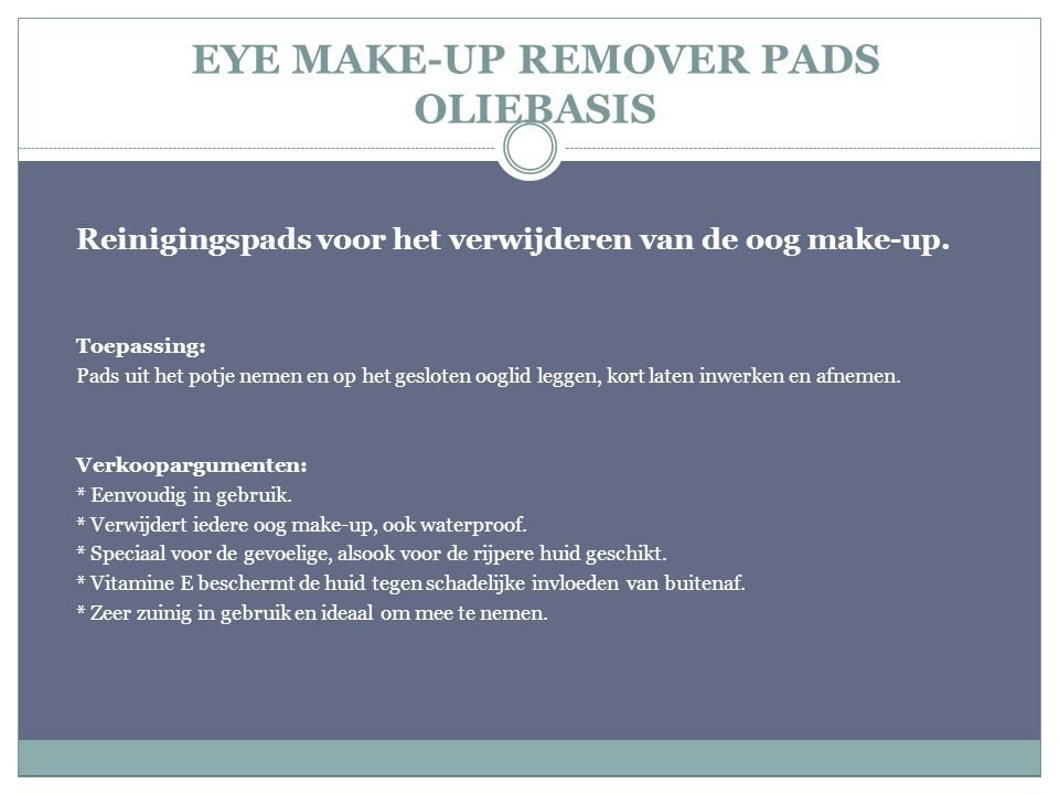 EYE MAKE-UP REMOVER PADS OLIEBASIS