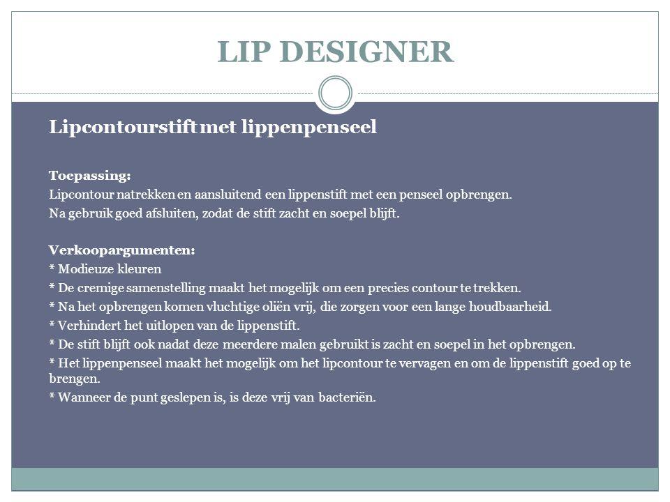 LIP DESIGNER Lipcontourstift met lippenpenseel Toepassing: