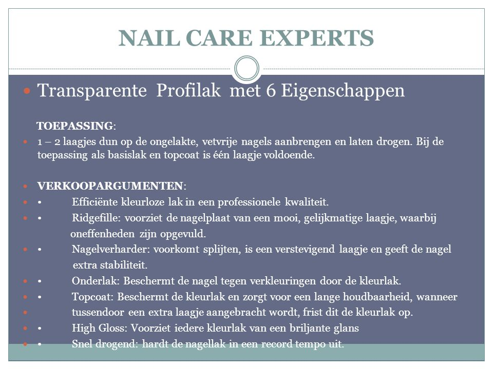 NAIL CARE EXPERTS Transparente Profilak met 6 Eigenschappen