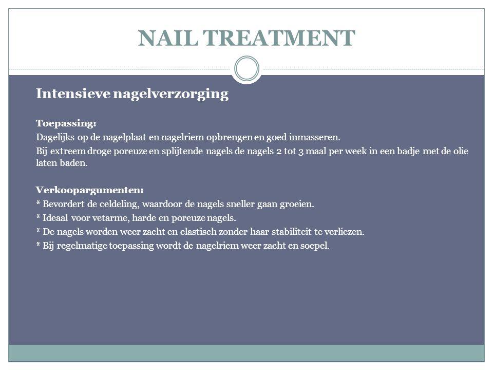 NAIL TREATMENT Intensieve nagelverzorging Toepassing: