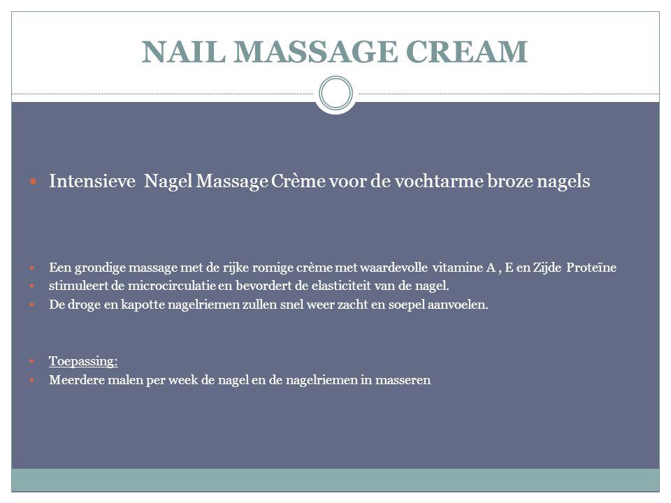 NAIL MASSAGE CREAM Intensieve Nagel Massage Crème voor de vochtarme broze nagels.