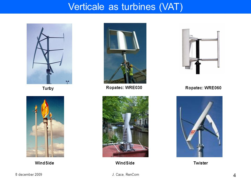 Verticale as turbines (VAT)