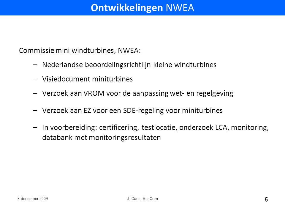 Ontwikkelingen NWEA Commissie mini windturbines, NWEA: