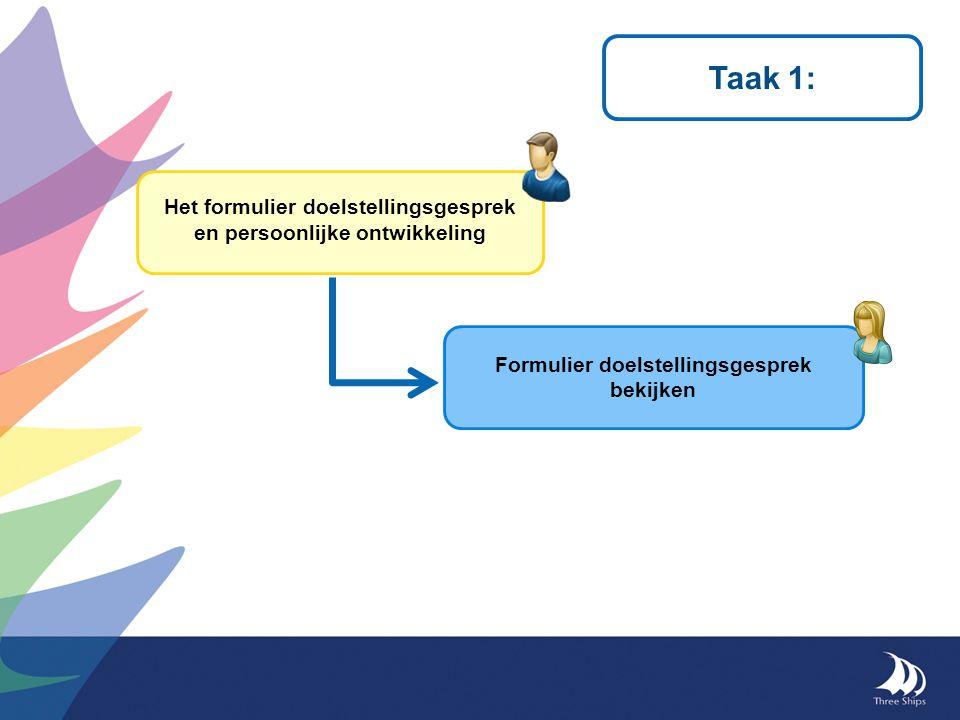 Taak 1: Het formulier doelstellingsgesprek en persoonlijke ontwikkeling.