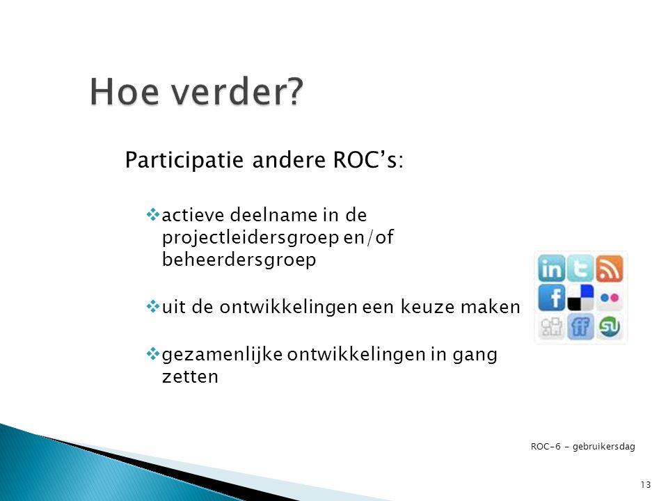 Hoe verder Participatie andere ROC's: