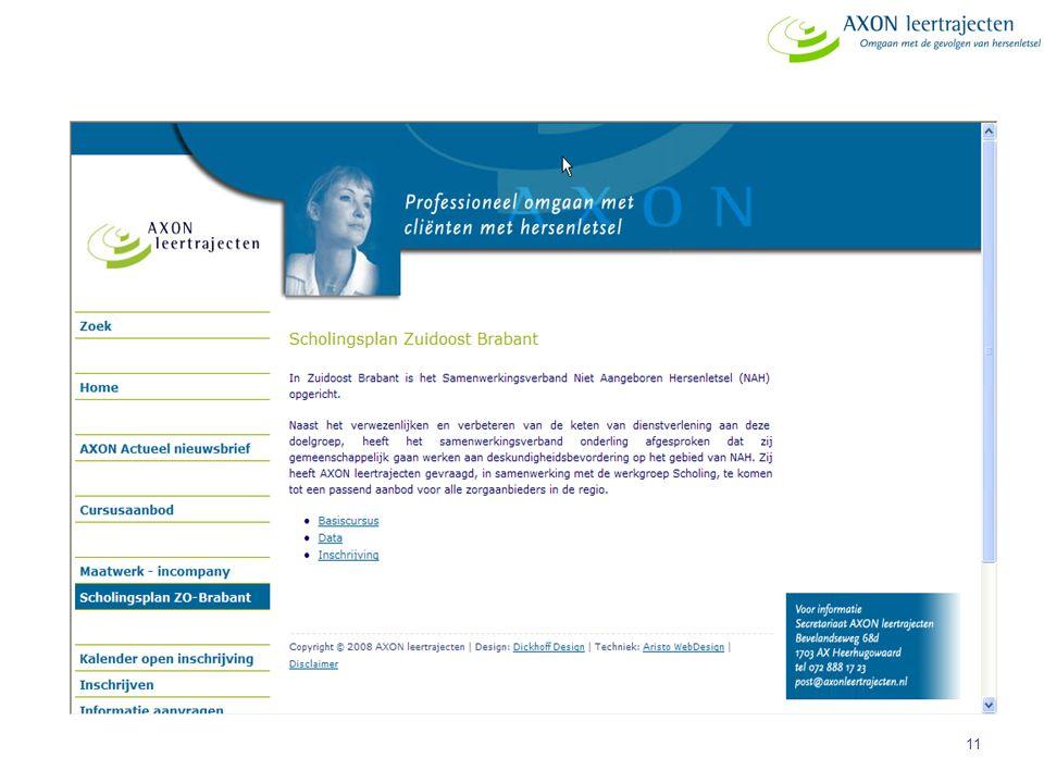 Hoe gaat het werken. Iedereen kan op de website van AXON kijken naar het actuele aanbod t.b.v. de regio ZOB.