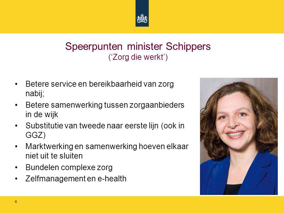 Speerpunten minister Schippers ('Zorg die werkt')