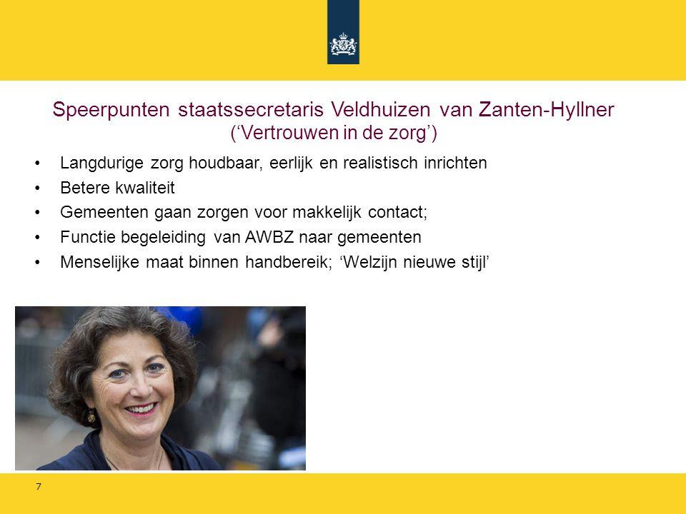Speerpunten staatssecretaris Veldhuizen van Zanten-Hyllner ('Vertrouwen in de zorg')
