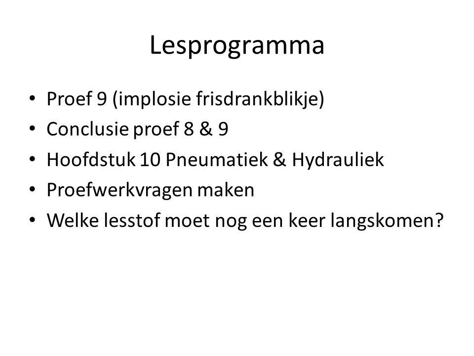 Lesprogramma Proef 9 (implosie frisdrankblikje) Conclusie proef 8 & 9