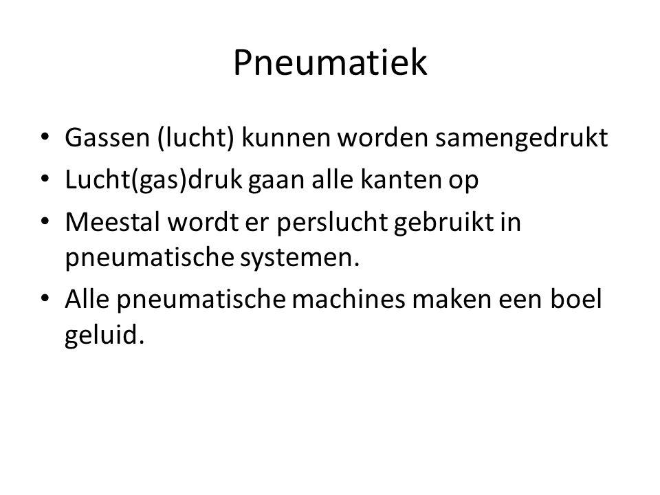 Pneumatiek Gassen (lucht) kunnen worden samengedrukt