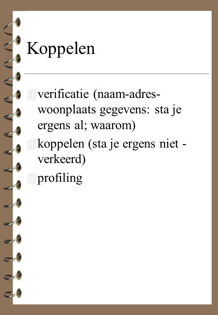 Koppelen verificatie (naam-adres-woonplaats gegevens: sta je ergens al; waarom) koppelen (sta je ergens niet - verkeerd)