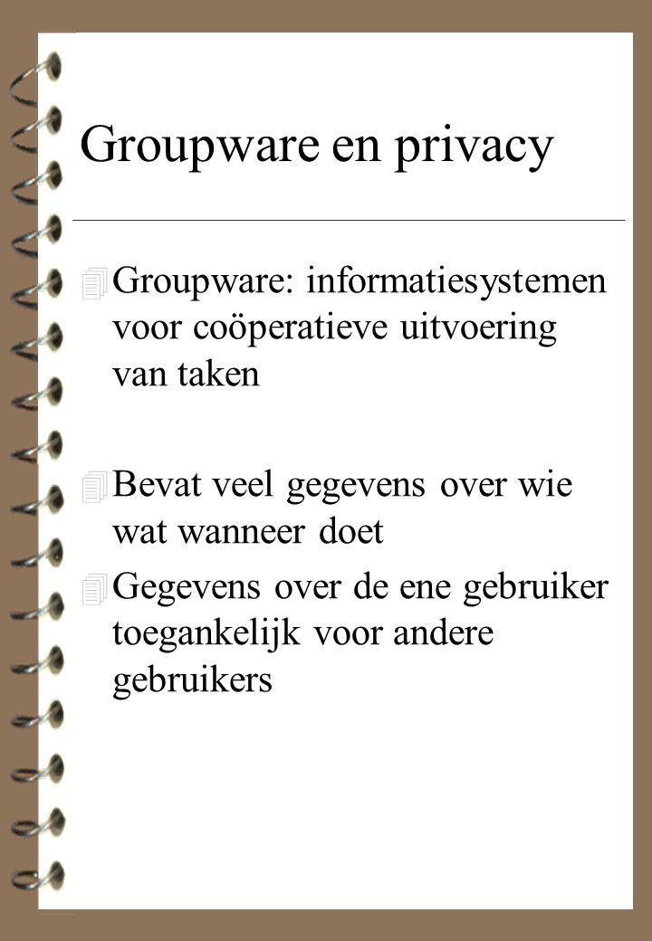 Groupware en privacy Groupware: informatiesystemen voor coöperatieve uitvoering van taken. Bevat veel gegevens over wie wat wanneer doet.