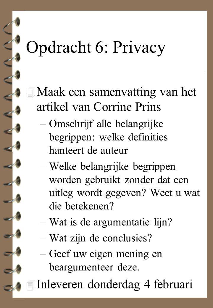 Opdracht 6: Privacy Maak een samenvatting van het artikel van Corrine Prins.
