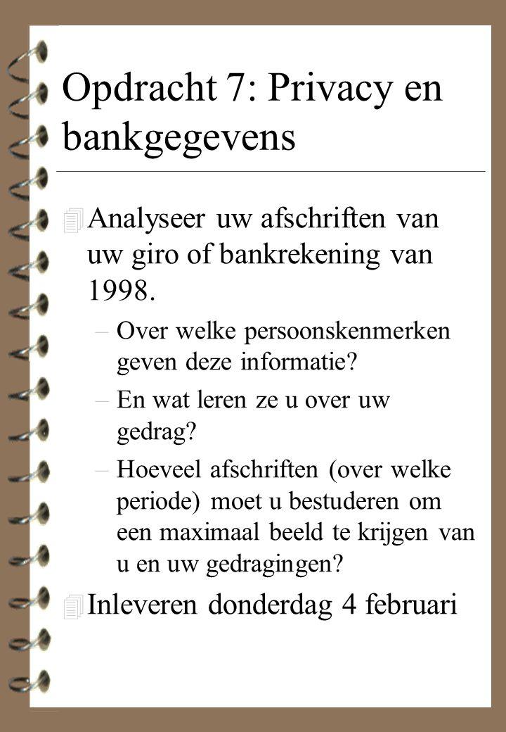 Opdracht 7: Privacy en bankgegevens