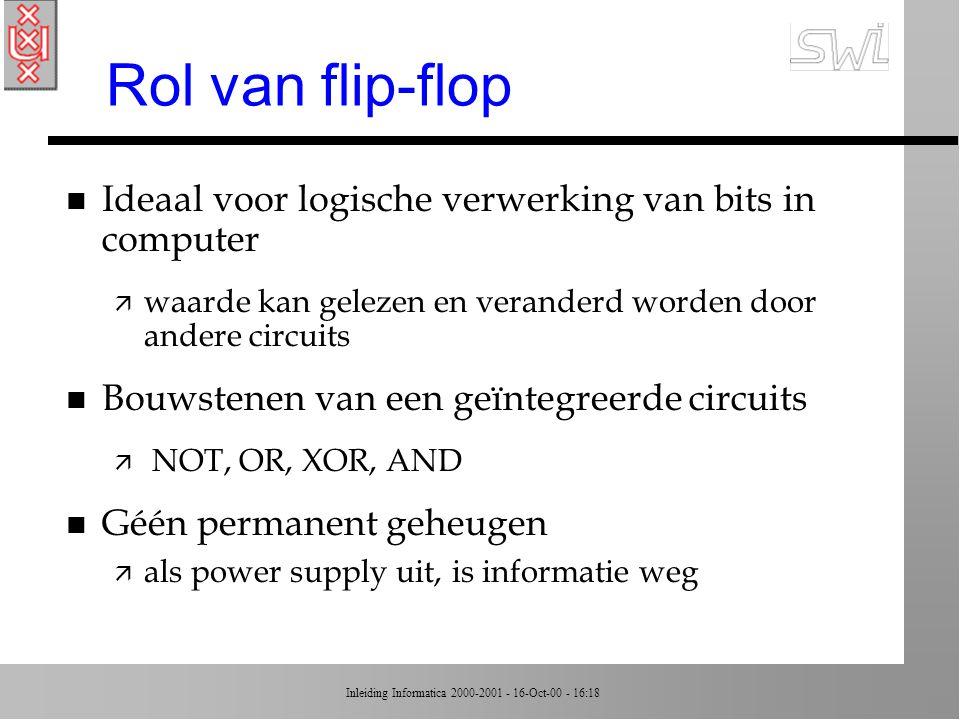 Rol van flip-flop Ideaal voor logische verwerking van bits in computer