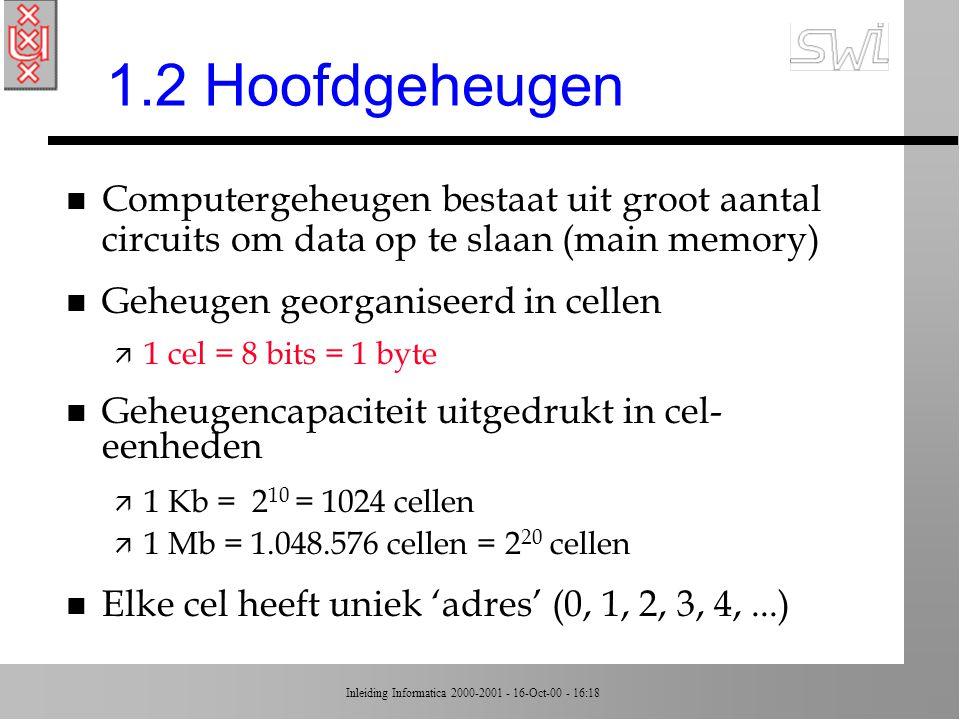1.2 Hoofdgeheugen Computergeheugen bestaat uit groot aantal circuits om data op te slaan (main memory)