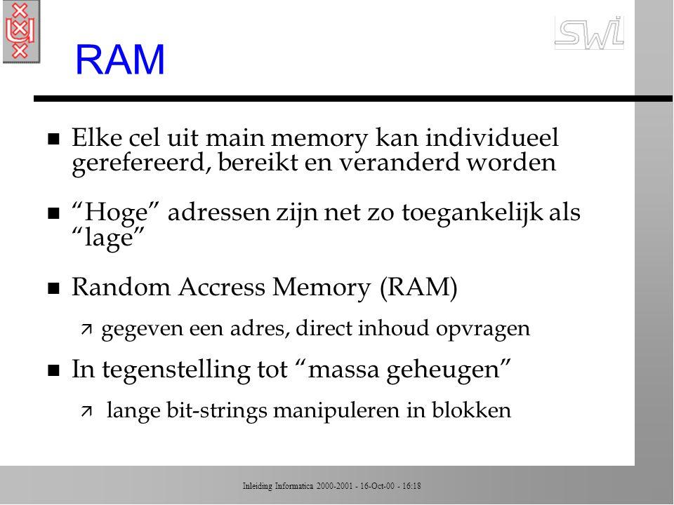 RAM Elke cel uit main memory kan individueel gerefereerd, bereikt en veranderd worden. Hoge adressen zijn net zo toegankelijk als lage
