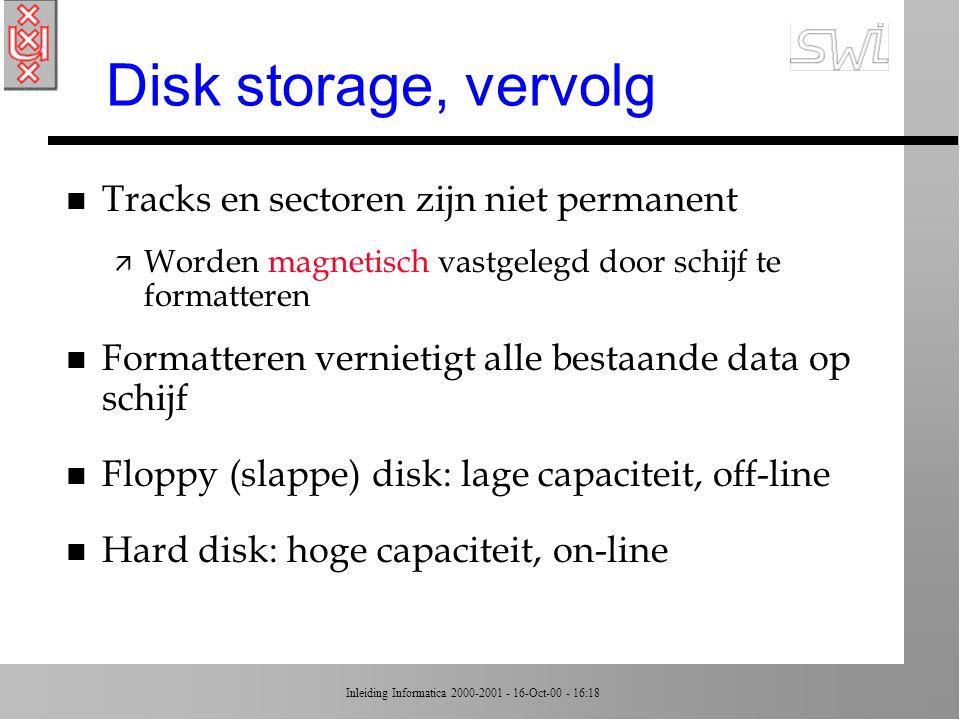 Disk storage, vervolg Tracks en sectoren zijn niet permanent