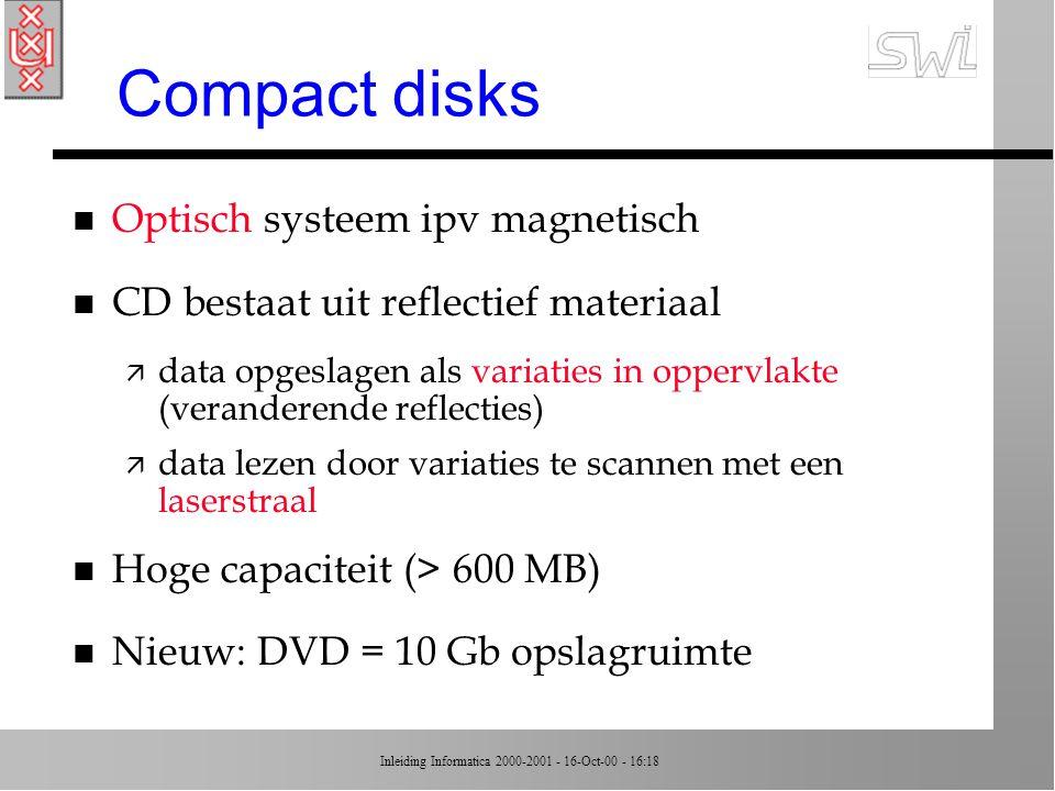 Compact disks Optisch systeem ipv magnetisch