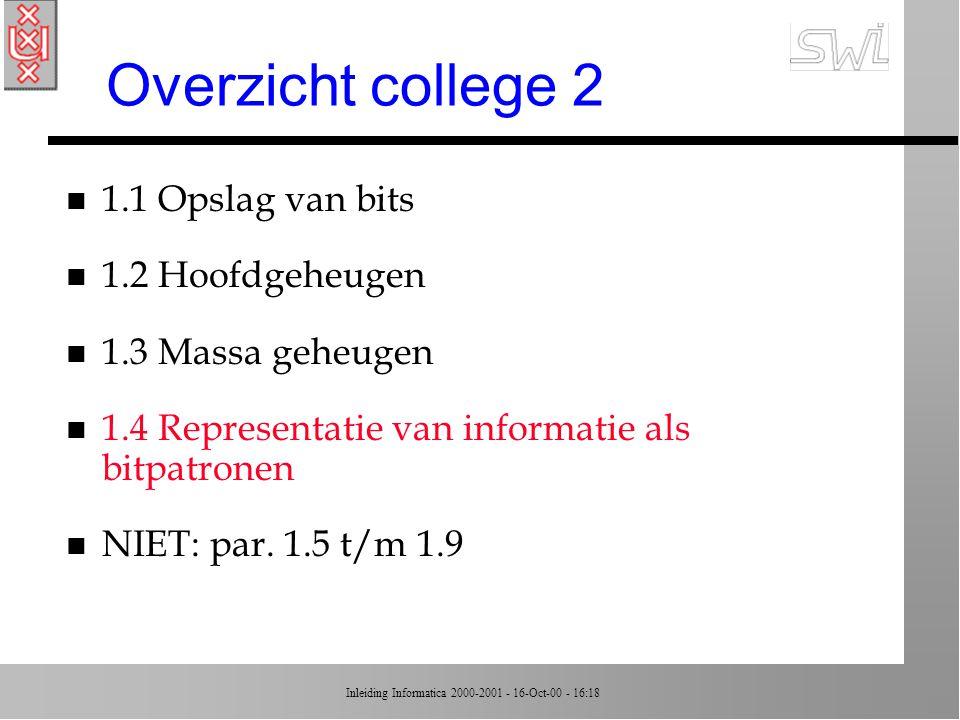 Overzicht college 2 1.1 Opslag van bits 1.2 Hoofdgeheugen