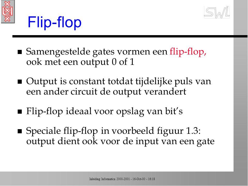 Flip-flop Samengestelde gates vormen een flip-flop, ook met een output 0 of 1.