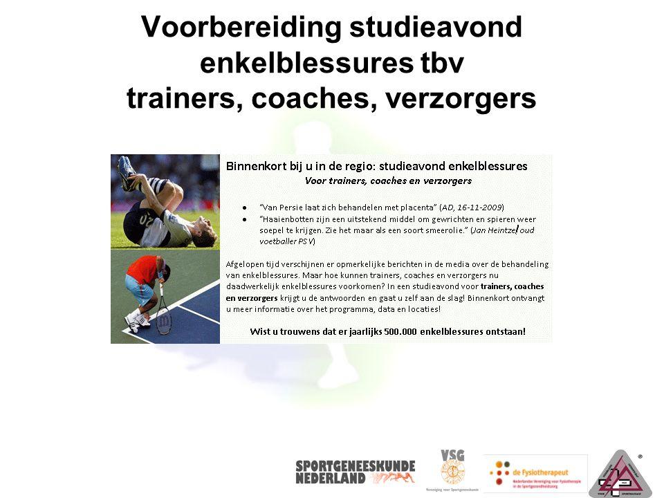 Voorbereiding studieavond enkelblessures tbv trainers, coaches, verzorgers