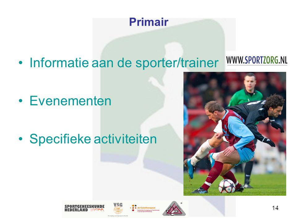 Informatie aan de sporter/trainer Evenementen Specifieke activiteiten