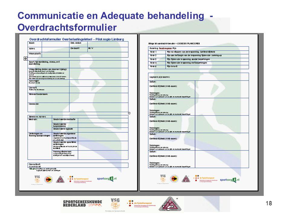 Communicatie en Adequate behandeling - Overdrachtsformulier