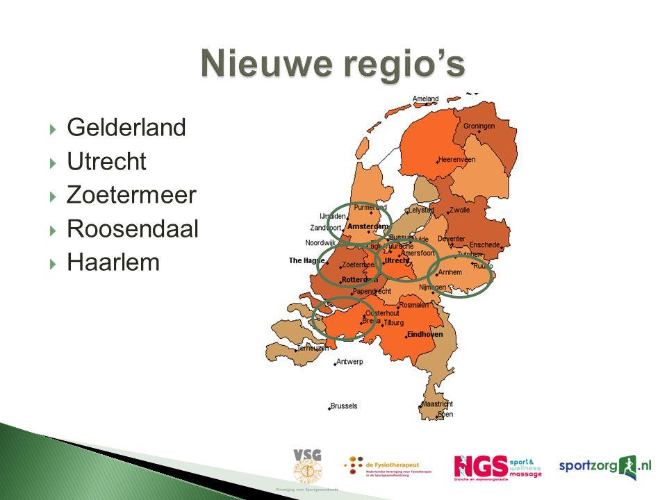 Nieuwe regio's Gelderland Utrecht Zoetermeer Roosendaal Haarlem