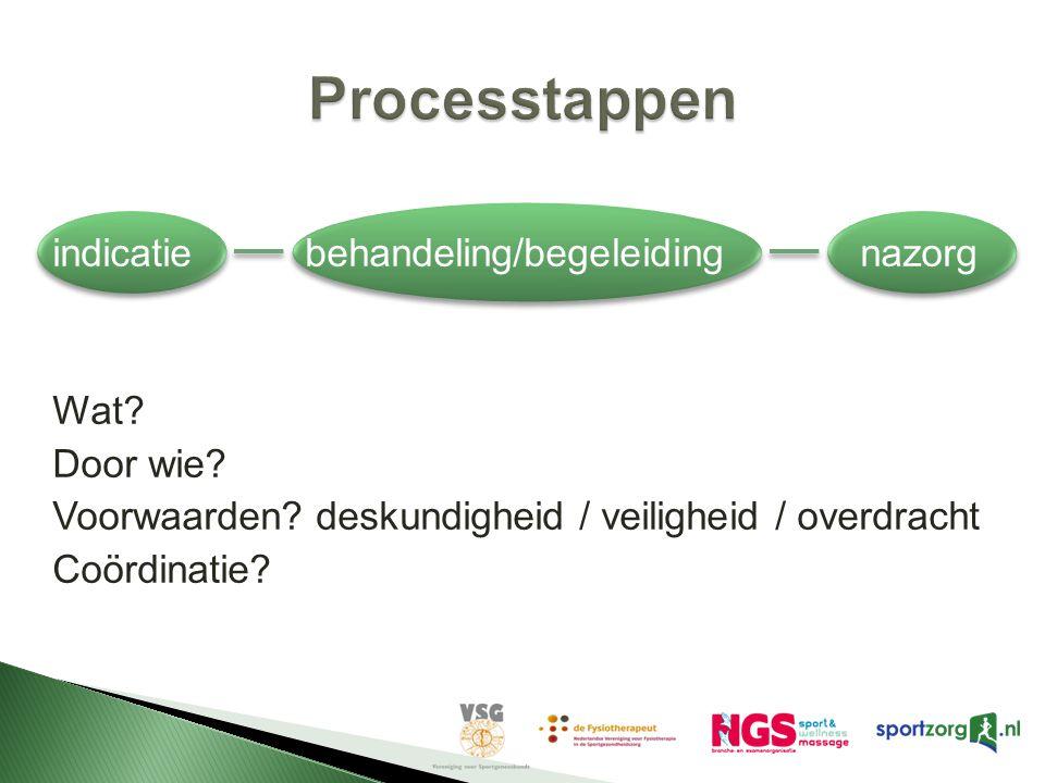 Processtappen indicatie behandeling/begeleiding nazorg Wat.